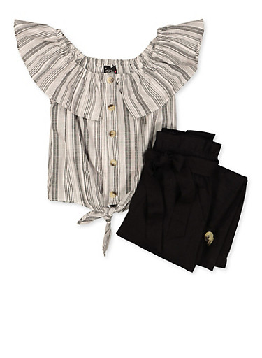Girls 4-6x Striped Ruffle Top and Cargo Pants Set,BLACK,large