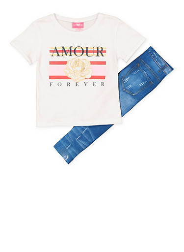 Girls 4-6x Amour Forever Tee with Denim Print Leggings,PINK,large