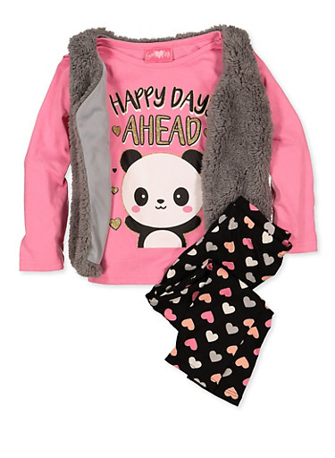 Girls 4-6x Happy Days Ahead Tee with Vest and Leggings,GRAY,large