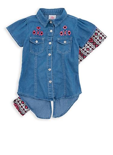 Girls 4-6x Denim Button Front Shirt with Printed Leggings,LIGHT WASH,large