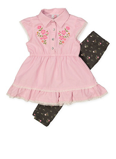 Girls 4-6x Embroidered Tunic Top and Leggings Set,PINK,large