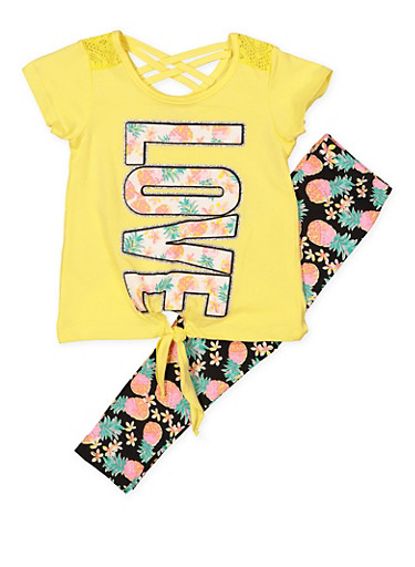 Girls 4-6x Pineapple Love Top and Leggings Set,YELLOW,large