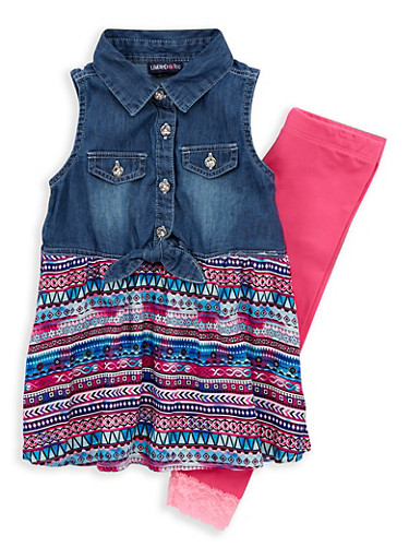 Girls 4-6x Limited Too Printed Denim Top with Leggings,MULTI COLOR,large