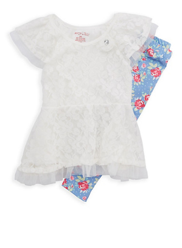 Girls 4-6x Lace Tulle Peplum Top and Floral Leggings,COLETTE LILLY,large
