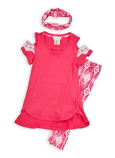 Girls 4-6x Cold Shoulder Top with Leggings and Headband,FUCHSIA,large