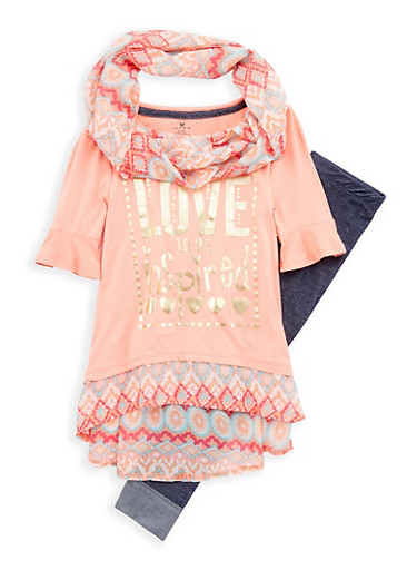 Girls 4-6x Foil Graphic Top with Denim Knit Leggings and Scarf,CORAL MULTI,large