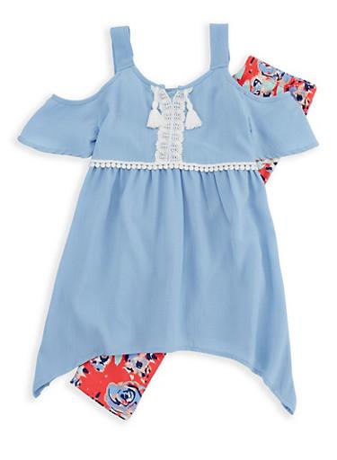 Girls 4-6x Cold Shoulder Top with Soft Knit Leggings,BLUE,large