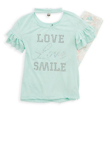 Girls 4-6x Heart Charm Studded Top with Leggings,MINT,large