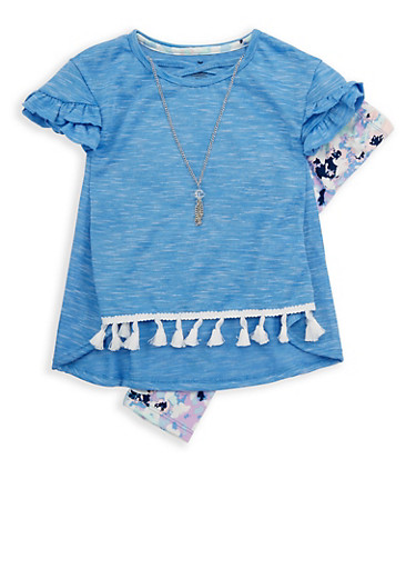 Girls 4-6x Tassel Trim T Shirt and Printed Leggings Set,LT BLUE,large