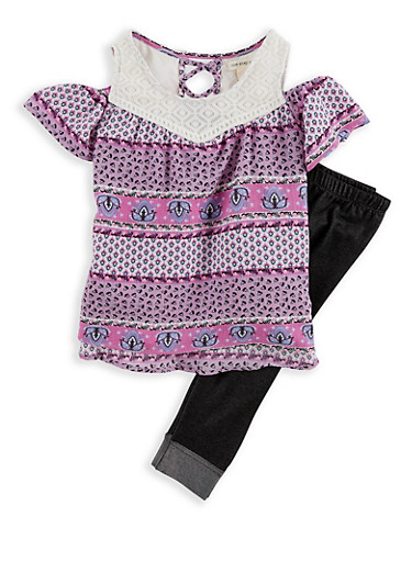 Girls 4-6x Crepe Knit Top with Denim Knit Leggings,LILAC,large