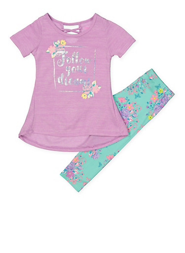 Girls 4-6x Follow Your Dreams Tunic Top with Leggings,PURPLE,large