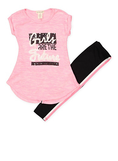 Girls 4-6x Girls are the Future Sequin Tee with Leggings,PINK,large