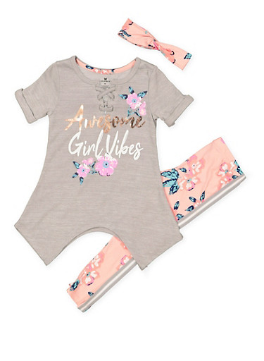 Girls 4-6x Girl Vibes Top with Floral Leggings and Headband,HEATHER,large