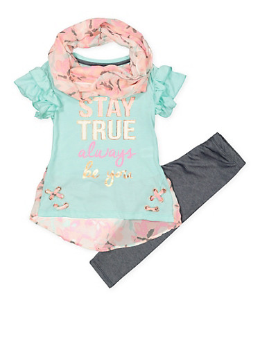 Girls 4-6x Stay True Tee with Denim Knit Leggings and Scarf,MINT,large