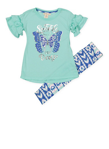 Girls 4-6x Foil Graphic Tee and Printed Leggings,MINT,large