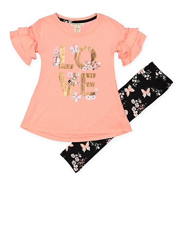 Girls 4-6x Love Tee with Printed Leggings,CORAL,large