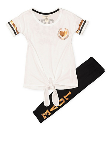 Girls 4-6x Love Graphic Tee and Leggings Set,BLACK/WHITE,large