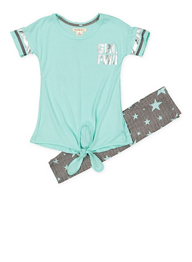 Girls 4-6x GRL PWR Tee with Printed Leggings,MINT,large