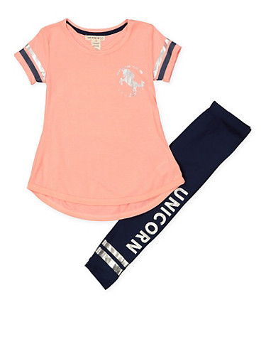 Girls 4-6x Unicorn Tunic Top and Leggings Set,CORAL,large