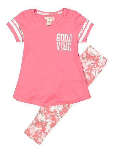 Girls 4-6x Good Vibe Girl Squad Tee with Printed Leggings,PINK,large