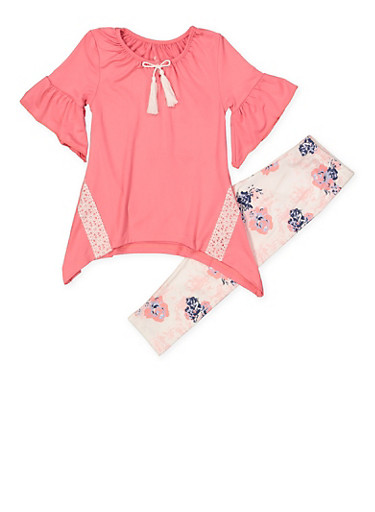 Girls 4-6x Bell Sleeve Top and Printed Leggings Set,CORAL,large