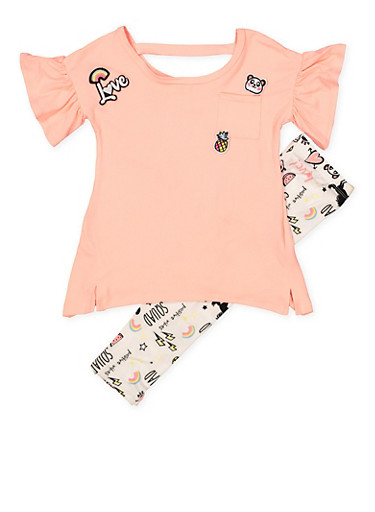 Girls 4-6x Graphic Patch Top with Leggings,CORAL,large