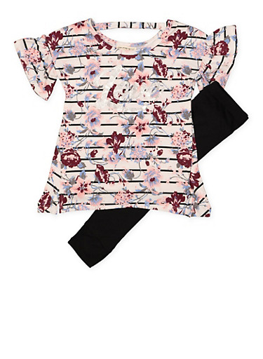 Girls 4-6x Striped Floral Love Top with Leggings,WHITE,large
