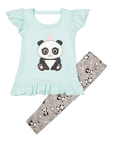 Girls 4-6x Panda Ruffle Top with Leggings,MINT,large