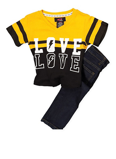 Girls 4-6x Love Color Block Tee with Jeans,DENIM,large