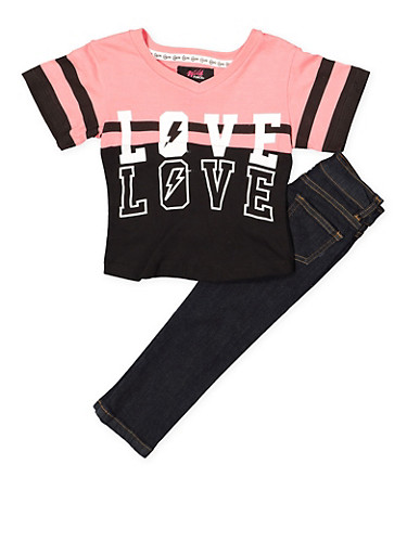 Girls 4-6x Love Graphic Tee and Jeans Set,DENIM,large