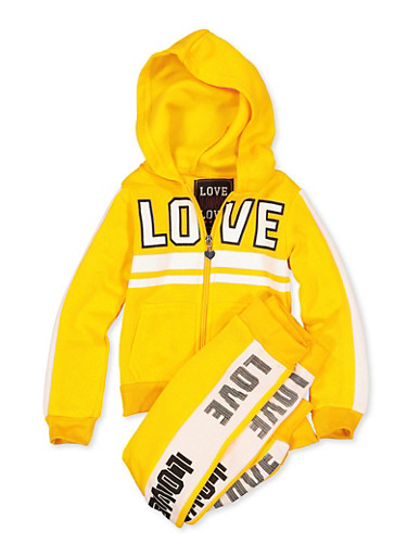 Girls 4-6x Sweatshirt and Love Graphic Joggers,MUSTARD,large