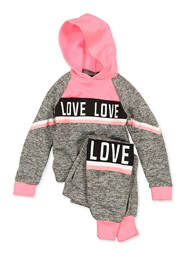 Girls 4-6x Hooded Love Sweatshirt and Joggers,GRAY,large