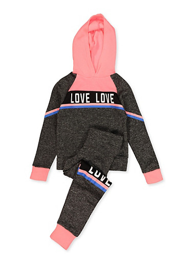 Girls 4-6x Love Graphic Pullover Sweatshirt with Joggers,CHARCOAL,large