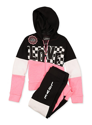 Girls 4-6x Love Color Block Sweatshirt and Joggers | 1607063400037,CORAL,large