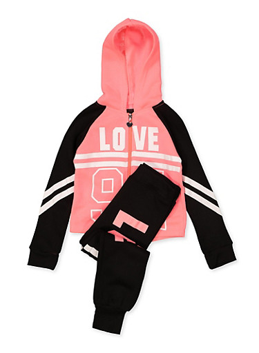 Girls 4-6x Love 94 Sweatshirt with Joggers,FUCHSIA,large