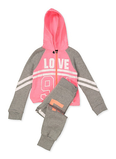 Girls 4-6x Love 94 Sweatshirt and Joggers Set,CORAL,large