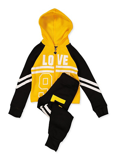 Girls 4-6x Love 94 Hooded Sweatshirt with Joggers,MUSTARD,large
