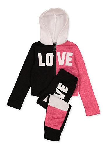 Girls 4-6x Love Color Block Zip Up Sweatshirt and Joggers,BLACK,large