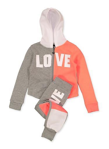 Girls 4-6x Color Block Love Sweatshirt and Joggers Set,HEATHER,large