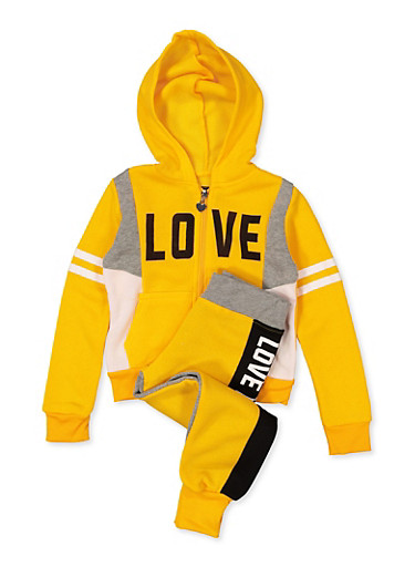 Girls 4-6x Love Hooded Sweatshirt with Joggers,MUSTARD,large