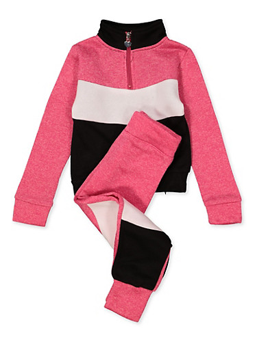 Girls 4-6x Color Block Half Zip Sweatshirt with Joggers,FUCHSIA,large