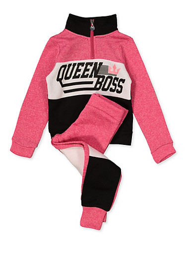 Girls 4-6x Queen Boss Graphic Sweatshirt with Joggers,FUCHSIA,large