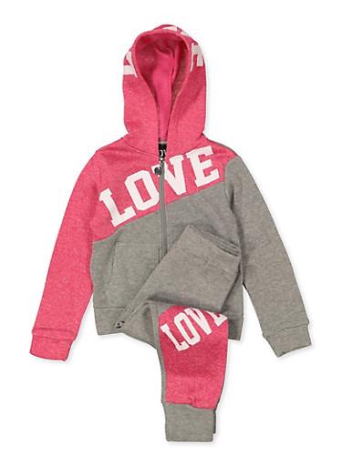 Girls 4-6x Love Color Block Zip Sweatshirt and Joggers Set,HEATHER,large