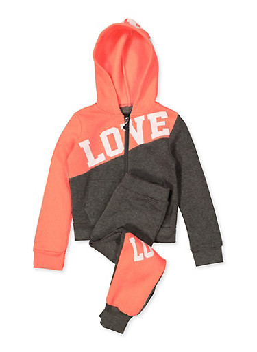 Girls 4-6x Love Color Block Sweatshirt and Joggers,CHARCOAL,large