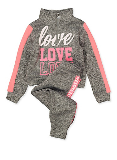 Girls 4-6x Half Zip Love Sweatshirt and Joggers Set,GRAY,large