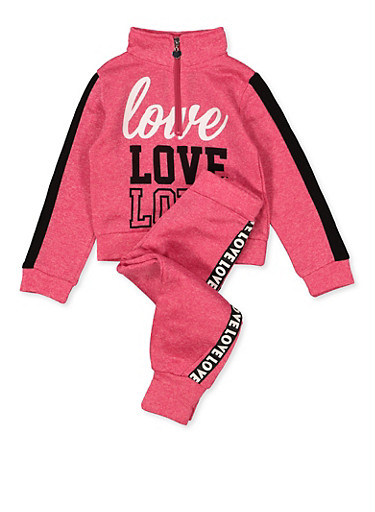 Girls 4-6x Love Graphic Sweatshirt and Joggers Set,FUCHSIA,large