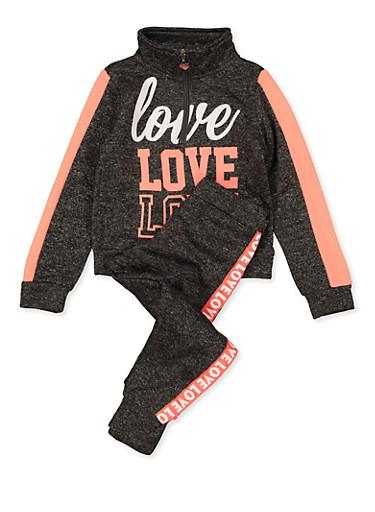 Girls 4-6x Love Sweatshirt and Joggers Set,CHARCOAL,large