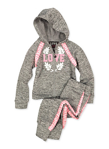 Girls 4-6x Love Sweatshirt and Joggers,GRAY,large