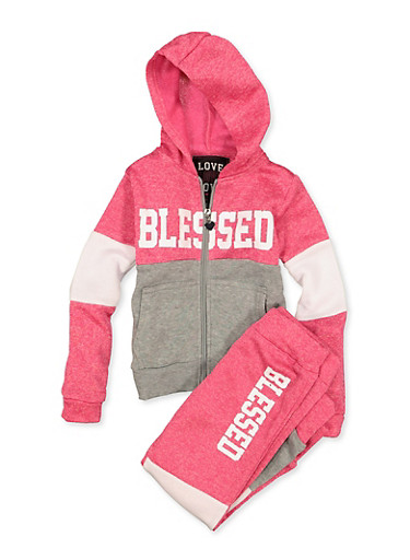 Girls 4-6x Blessed Color Block Sweatshirt with Joggers,FUCHSIA,large