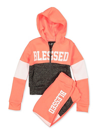 Girls 4-6x Blessed Color Block Sweatshirt and Joggers,CORAL,large